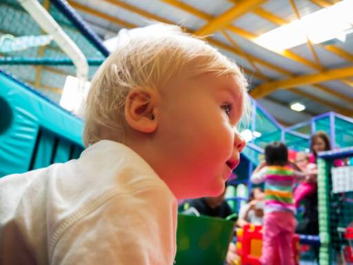 Portrait of my Son in a play center. I used my standard 14mm-42mm kit lens for this shot.